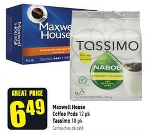 Maxwell House Coffee Pods 12 Pk Tassimo 10 Pk
