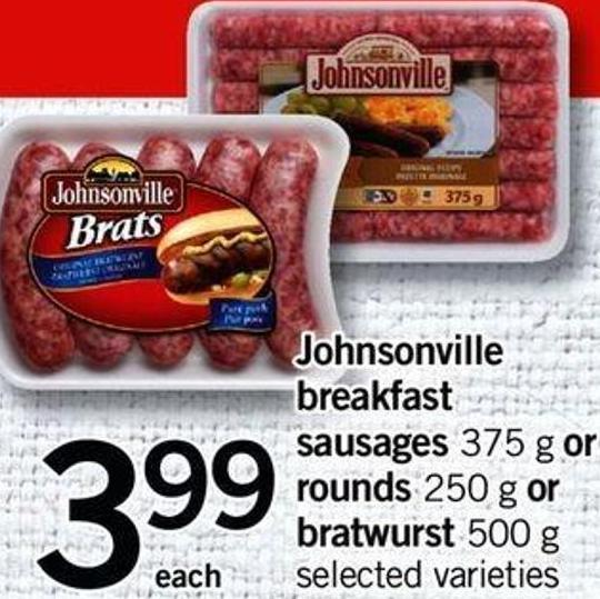 Johnsonville Breakfast Sausages - 375 G Or Rounds - 250 G Or Bratwurst - 500 G