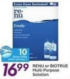 Renu or Biotrue Multi Purpose Solution - 10 Air Miles Bonus Miles
