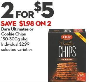 Dare Ultimates or Cookie Chips 150-300g Pkg