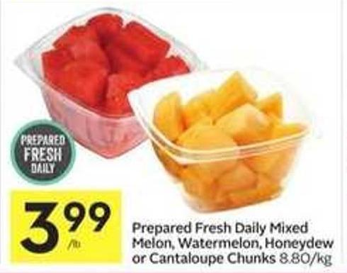 Prepared Fresh Daily Mixed Melon - Watermelon - Honeydew or Cantaloupe Chunks