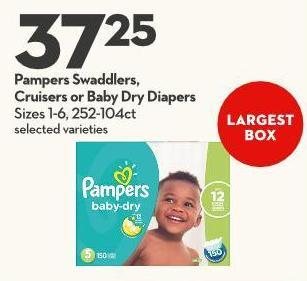 Pampers Swaddlers -  Cruisers or Baby Dry Diapers Sizes 1-6 - 252-104ct