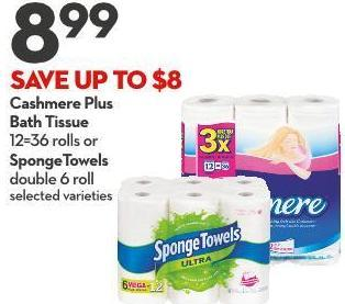 Cashmere Plus Bath Tissue 12=36 Rolls or Spongetowels Double 6 Roll