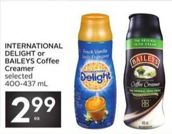 International Delight or Baileys Coffee Creamer