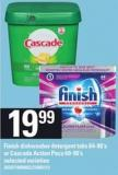 Finish Dishwasher Detergent Tabs - 64-90's Or Cascade Action Pacs - 60-90's