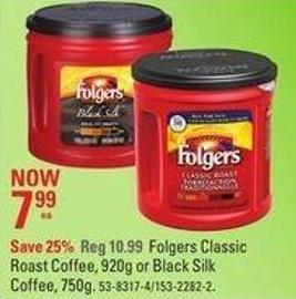 Folgers Classic Roast Coffee - 920g or Black Silk Coffee