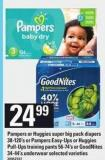 Pampers Or Huggies Super Big Pack Diapers 38-120's Or Pampers Easy-ups Or Huggies Pull-ups Training Pants 56-74's Or Goodnites 34-44's Underwear