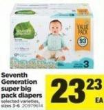 Seventh Generation Super Big Pack Diapers - Sizes 3-6