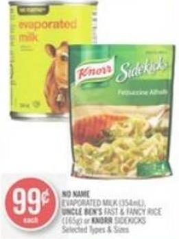 No Name Evaporated Milk (354ml) - Uncle Ben's Fast & Fancy Rice (165g) or Knorr Sidekicks