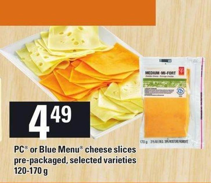 PC Or Blue Menu Cheese Slices Pre-packaged - 120-170 g