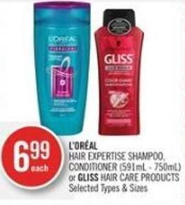 L'oréal Hair Expertise Shampoo - Conditioner (591ml - 750ml) or Gliss Hair Care Products