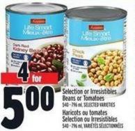 Selection Or Irresistibles Beans Or Tomatoes 540 - 796 ml