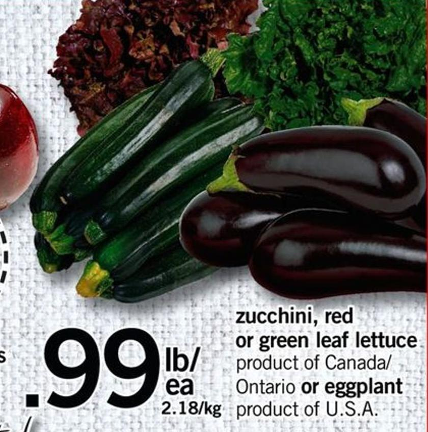 Zucchini - Red Or Green Leaf Lettuce Or Eggplant