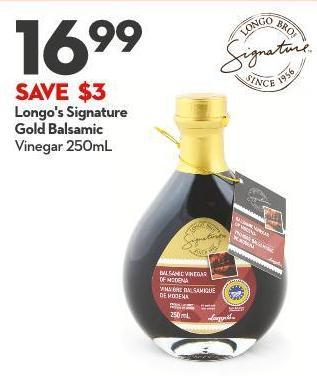 Longo's Signature  Gold Balsamic Vinegar 250ml