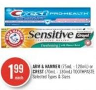 Arm & Hammer (75ml - 120ml) or Crest (70ml - 130ml) Toothpaste