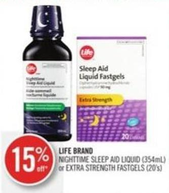 Life Brand Nighttime Sleep Aid Liquid (354ml) or Extra Strength Fastgels (20's)