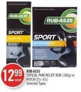 Rub A535 Topical Pain Relief Rub (100 G) or Patch (2's-6's)