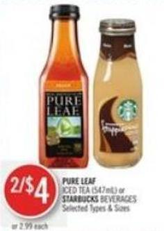 Pure Leaf Iced Tea or Starbucks Beverages