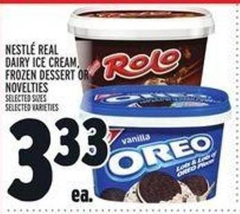 Nestlé Real Dairy Ice Cream - Frozen Dessert Or Novelties