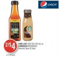Pure Leaf  Iced Tea or Starbucks Beverages (547ml)