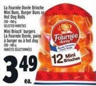 La Fournée Dorée Brioche Mini Buns - Burger Buns Or Hot Dog Rolls 200 - 480 g