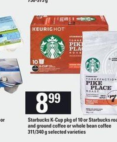 Starbucks K-cup Pkg Of 10 Or Starbucks Roast And Ground Coffee Or Whole Bean Coffee 311/340 G