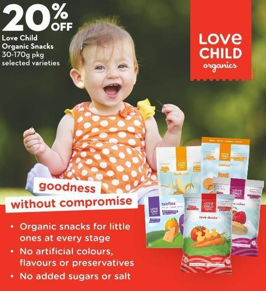 Love Child Organic Snacks 30-170g Pkg