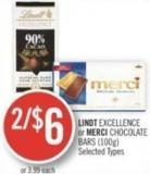 Lindt Excellence or Merci Chocolate Bars (100g)