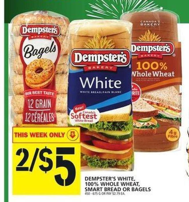 Dempster's White - 100% Whole Wheat - Smart Bread Or Bagels
