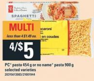 PC Pasta 454 G Or No Name Pasta 900 G