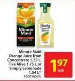 Minute Maid Orange Juice From Concentrate 1.75 L - Five Alive 1.75 L or Simply Lemonade 1.54 L
