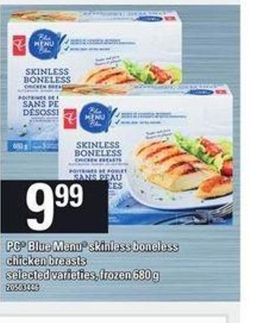 PC Blue Menu Skinless Boneless Chicken Breasts.680 G