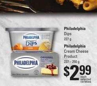 Philadelphia Dips - 227 g Philadelphia Cream Cheese Product - 227 – 250 g