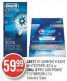Crest 3D Supreme Flexfit Whitestrips (42's) or Oral-b Pro 1000 Power Toothbrush (1's)