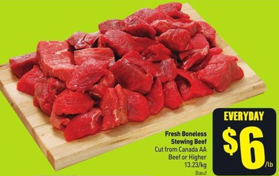 Fresh Boneless Stewing Beef Cut From Canada Aa Beef or Higher 13.23/kg
