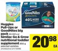 Huggies Pull-ups Or Goodnites Big Pack 24-64's Or Similac Go & Grow Nutritional Toddler Supplement 850 G