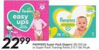 Pampers Super Pack Diapers 38-120 Pk or Super Pack Training Pants 2-5 T 56-74 Pk - 50 Air Miles Bonus Miles
