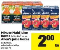Minute Maid Juice Boxes - 8/10x200 Ml Or Allen's Juice Boxes - 8x200 Ml