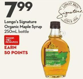 Longo's Signature Organic Maple Syrup 250ml