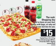 Family Pizza - 1.13-1.37 Kg - 3 Coca-cola Beverages - 500 mL & 3 From Our Chefs Dipping Sauces - 44 mL