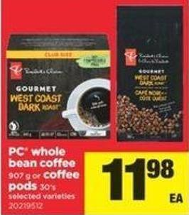 PC Whole Bean Coffee - 907 G Or Coffee PODS - 30's