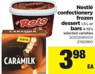 Nestlé Confectionery Frozen Dessert - 1.5 L or Bars - 4-10's