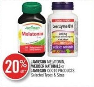 Jamieson Melatonin - Webber Natural Or Jamieson Coq10 Products