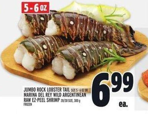Jumbo Rock Lobster Tail Size 5 - 6 Oz Or Marina Del Rey Wild Argentinean Raw Ez-peel Shrimp 20/30 Size - 300 g Frozen