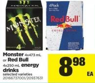 Monster 4x473 Ml Or Red Bull 4x250 Ml Energy Drinks