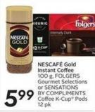 Nescafé Gold Instant Coffee 100 g - Folgers Gourmet Selectionsor Sensations By Compliments Coffee K-cup Pods 12 Pk