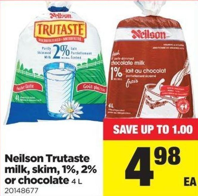 Neilson Trutaste Milk - Skim - 1% - 2% Or Chocolate - 4 L