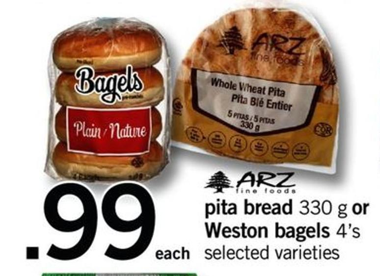 Pita Bread 330 G Or Weston Bagels 4's