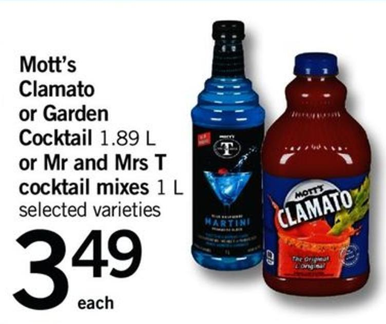 Mott's Clamato Or Garden Cocktail - 1.89 L Or Mr And Mrs T Cocktail Mixes - 1 L