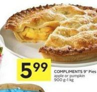 Compliments 9in Pies Apple or Pumpkin 900 G-1 Kg
